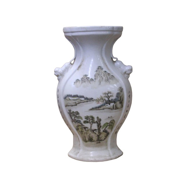 Antique White Chinese Oriental Ceramic Off White Mountain Water Scenery Vase For Sale - Image 8 of 8