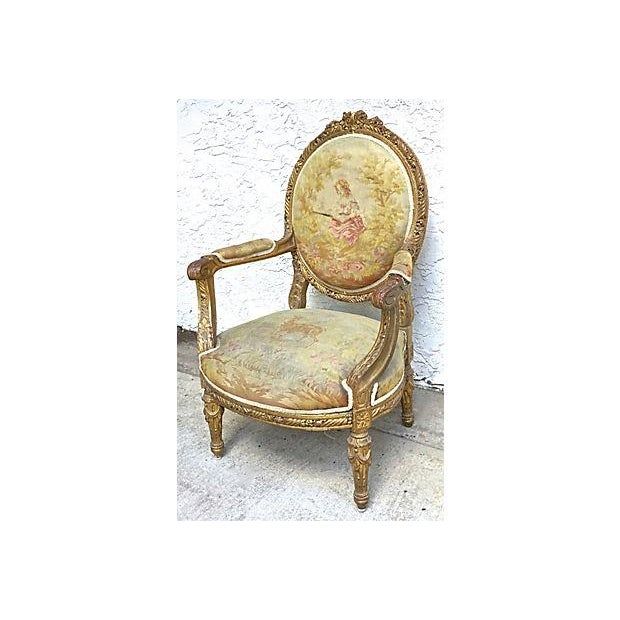 French Charles X Antique Aubusson Fauteuil For Sale - Image 3 of 11