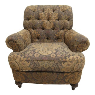 1990s Vintage Ethan Allen Chesterfield Style Rolled Arm Living Room Lounge Chair For Sale