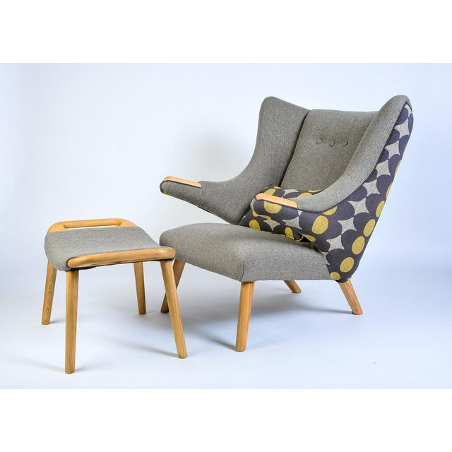 Yellow Mid-Century Modern Wegner Arm Chair & Ottoman For Sale - Image 8 of 8