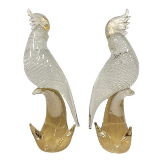 Seguso Murano Glass Cockatoo in Clear, White and Gold Inclusions - a Pair For Sale