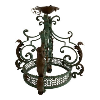 1960s French Style Green Iron Hanging Light For Sale
