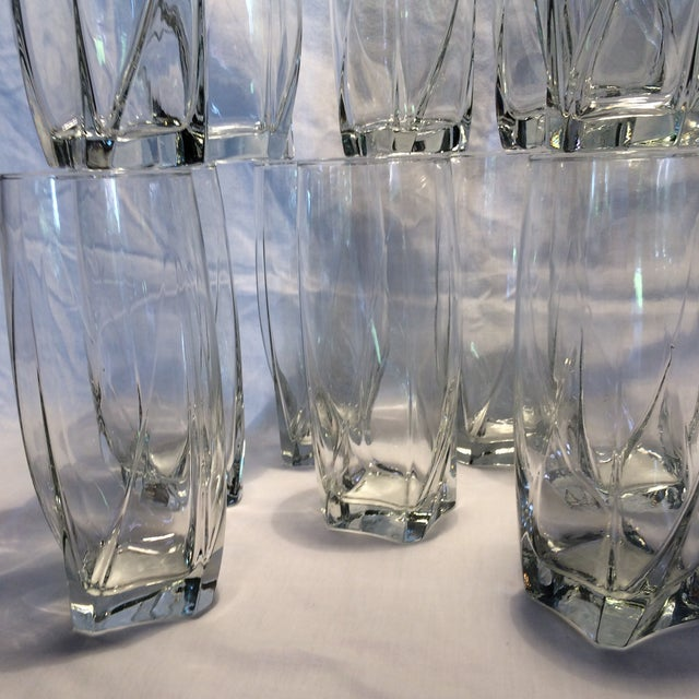 12 Crystal Square Base Water Glasses For Sale - Image 11 of 11