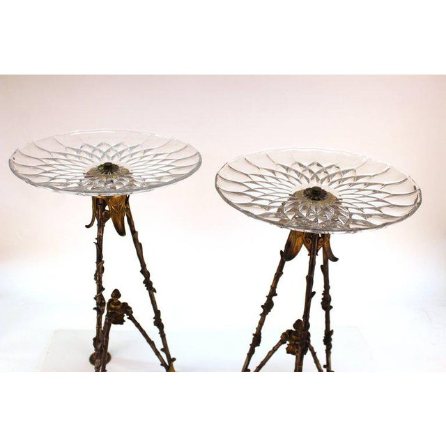 A pair of antique highly decorative French Victorian tall pastry holders with signed Val St. Lambert glass round trays....