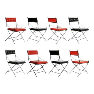 Campaign Folding Chairs in the Style of Maison Jansen, Set of Eight, Circa 1960 For Sale