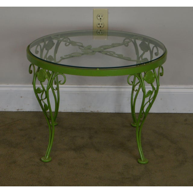 Woodard Chantilly Rose Garden Vintage Green Painted Wrought Iron Round Patio Side Table For Sale In Philadelphia - Image 6 of 13
