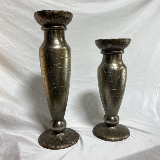 Silver Leaf Artmax Candlesticks - a Pair For Sale - Image 11 of 12