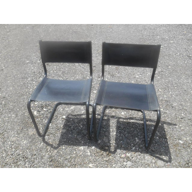 Vintage Mid-Century Modern Black Leather Sling Dining Chairs - Set of 4 For Sale - Image 4 of 8
