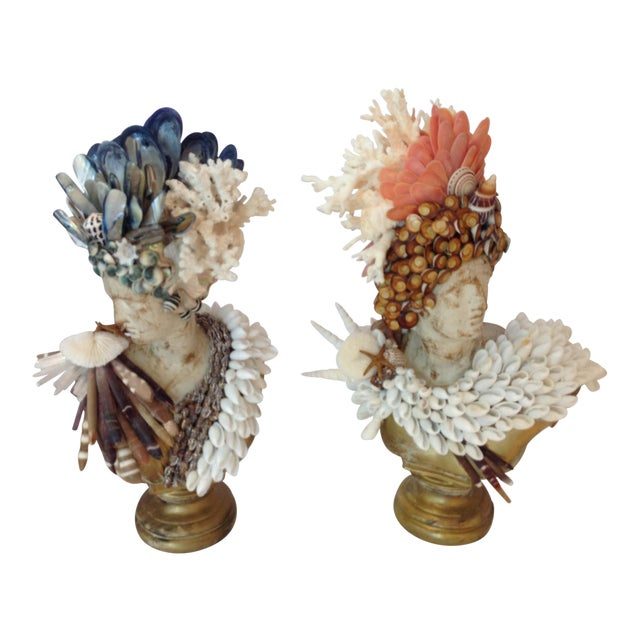 Apollo and Diane Shelled Busts - a Pair For Sale