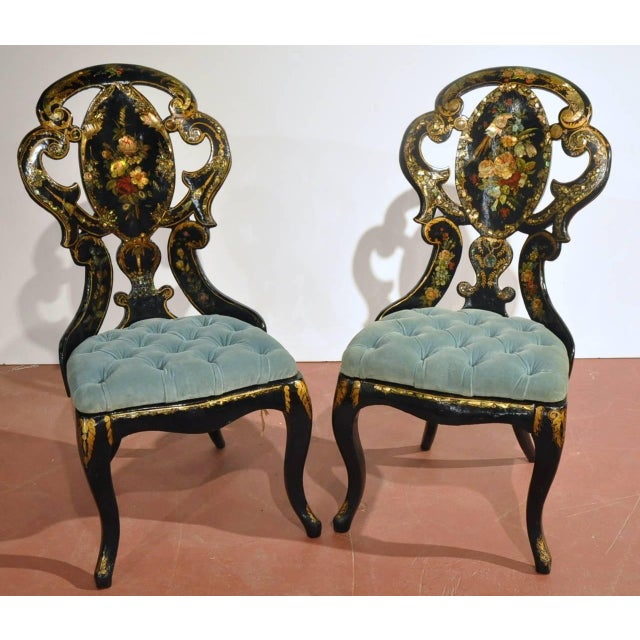Fine antique hand-painted pair of chairs and matching make up table from France, circa 1870, featuring mother-of-pearl...