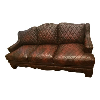 Late 20th Century Councill Harlquin Quilted Leather Sofa For Sale