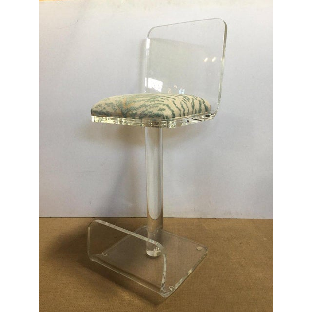 Mid 20th Century Set of Three Vintage Lucite Bar Stools, Newly Upholstered Seat For Sale - Image 5 of 13