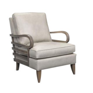 Modern Thomasville Cream Leather Kirk Club Chair For Sale