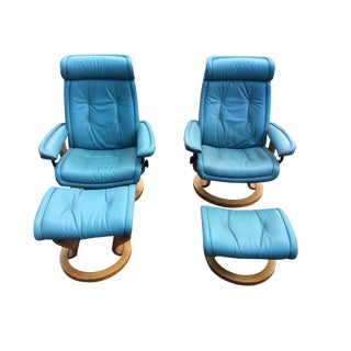 Vintage Leather Erkones Stressless Recliners & Matching Stools - A Pair