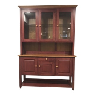 1990s Traditional Ethan Allen Country Colors China/Display Cabinet For Sale