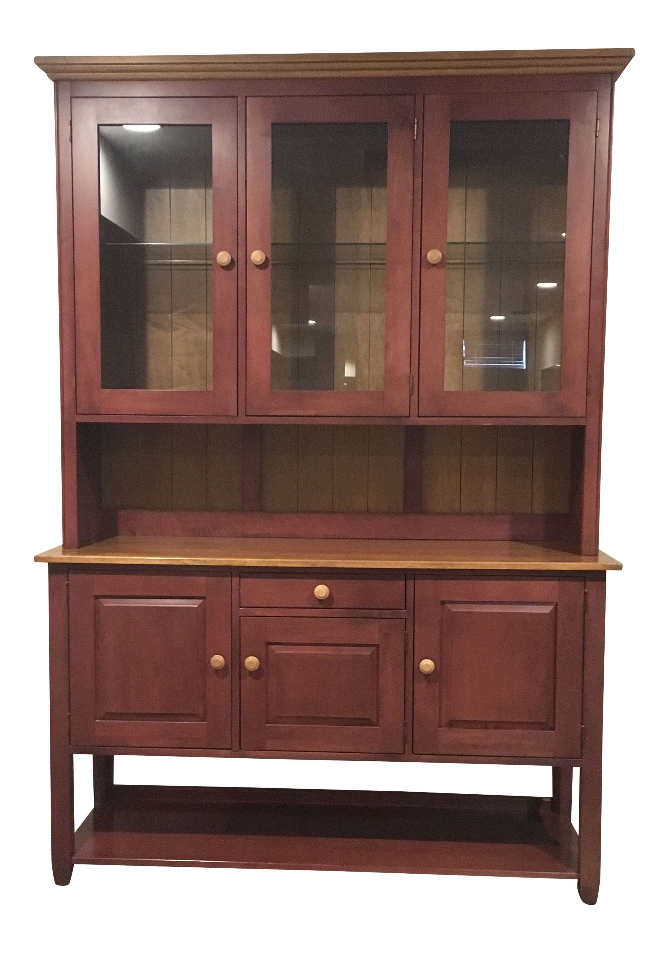 1990s Traditional Ethan Allen Country Colors China/Display Cabinet