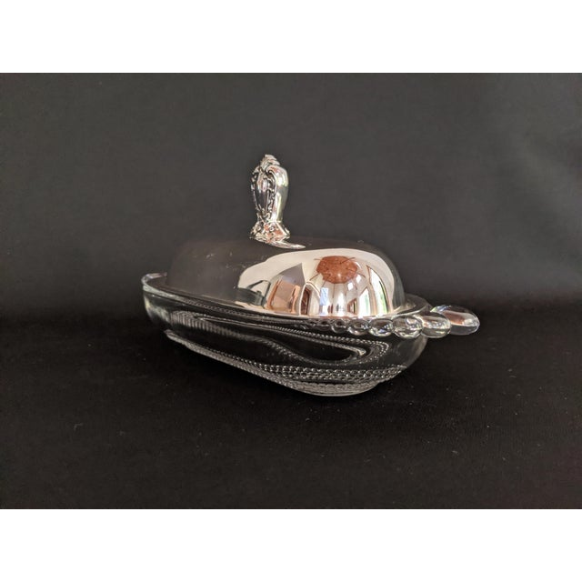 1950s Rogers Bros Silver Plate Butter Dish With Lid For Sale - Image 5 of 12