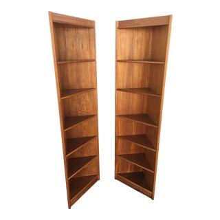 Danish Modern Teak Corner Shelves - a Pair For Sale