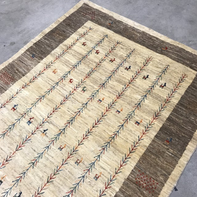 Vintage Persian Gabbeh Rug - 4'1 X 5'4 - Image 8 of 10