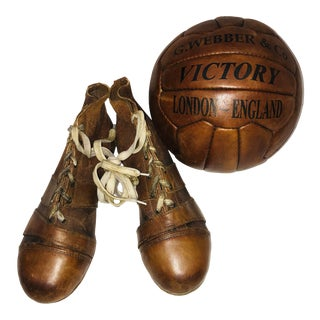 Leather Soccer Ball & Cleats - 3 Pieces For Sale