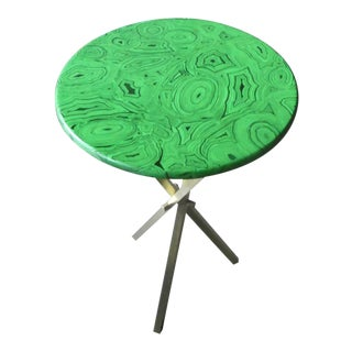 1960s Mid Century Faux Malachite Fornasetti Side Table For Sale
