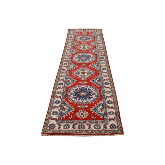 """Textile Kazak Garish Zane Red Ivory Wool Rug - 2'"""" x 9'9"""" For Sale - Image 7 of 8"""