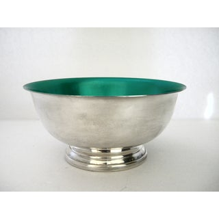 1970s Alvin Silver Plate Footed Green Enamel Serving Bowl Preview