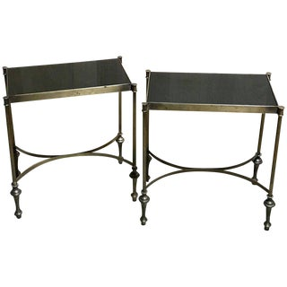 Pair of Maison Jansen Patinated Brass Side Tables