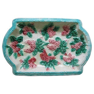 Antique Majolica Lilac Platter