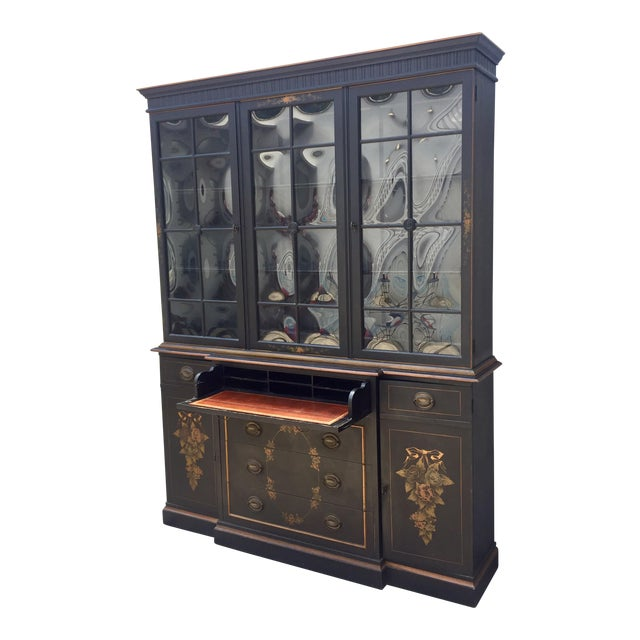 Bubble Glass Hitchcock Style Breakfront/ Bookcase For Sale