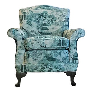 1920s Chinoiserie Rolled Arm Club Chair For Sale