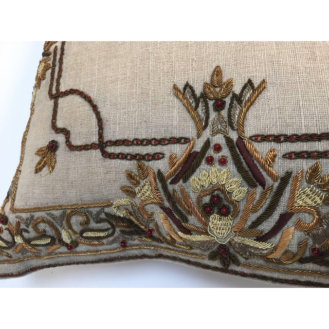 Linen Accent Pillow Embroidered With Moorish Metallic Threads Design For Sale - Image 7 of 10