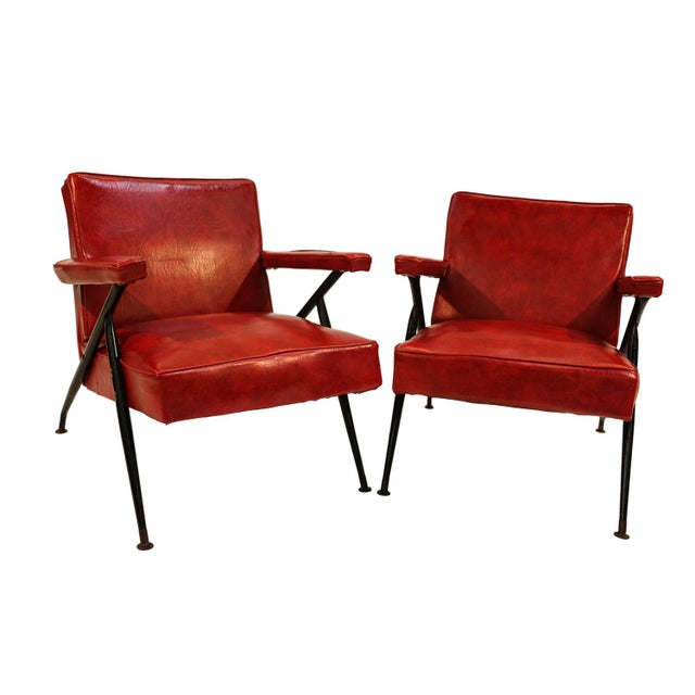 Viko Baumritter Red Lounge Chairs - a Pair - Image 4 of 10