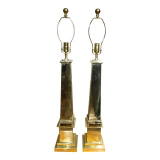 Brass Obelisk Lamps - a Pair For Sale