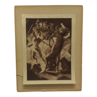"""Mounted Photogravue on Silk, """"Hark - the Herald Angel"""" by William De Leftwich Dodge 1899 For Sale"""