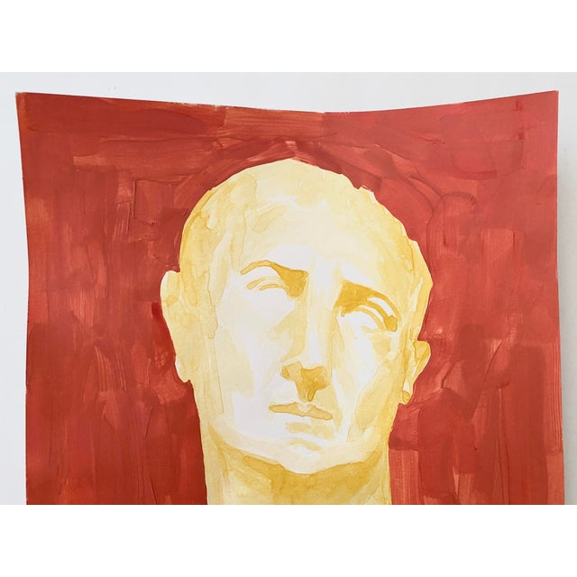 2020s Roman Emperor Trajan Bust Painting, Acrylic on Paper For Sale - Image 5 of 8