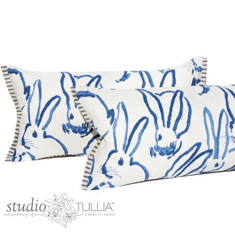 Blue Bunny Lumbar Pillow For Sale - Image 4 of 8