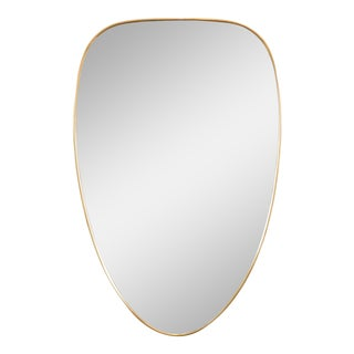 Brass Framed Wall Mirror in the Style of Gio Ponti