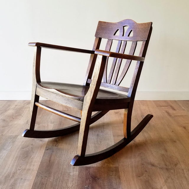 Early 20th Century Arts + Crafts Oak Rocking Chair For Sale - Image 13 of 13