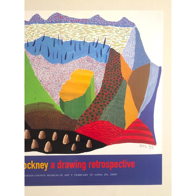 Abstract Vintage 1996 David Hockney Original Lithograph Lacma Exhibition Pop Art Poster For Sale - Image 3 of 11
