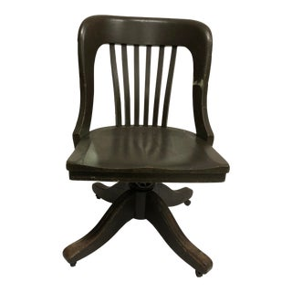 Vintage Industrial Wood Swivel Banker Chair For Sale