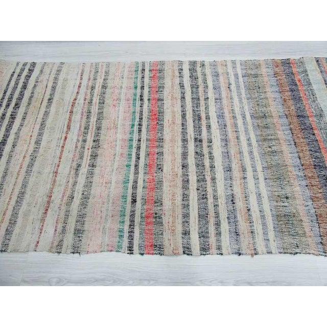 Vintage Striped Turkish Rag Rug For Sale - Image 4 of 6