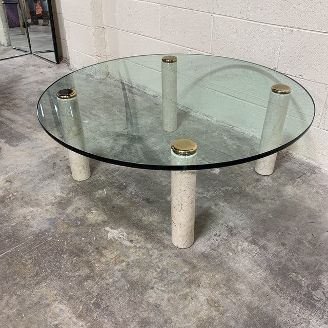 Fantastic Pace Collection marblw ans glass top coffee table. Beautiful thick (3/4in) green edge glass on four thick solid...