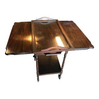 Vintage Drop Leaf Wood Tea Cart Server Trolly For Sale