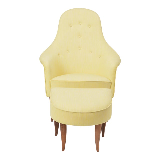 Large Adam' Reupholstered Lounge Chair With Ottoman by Kerstin Hörlin-Holmquist For Sale