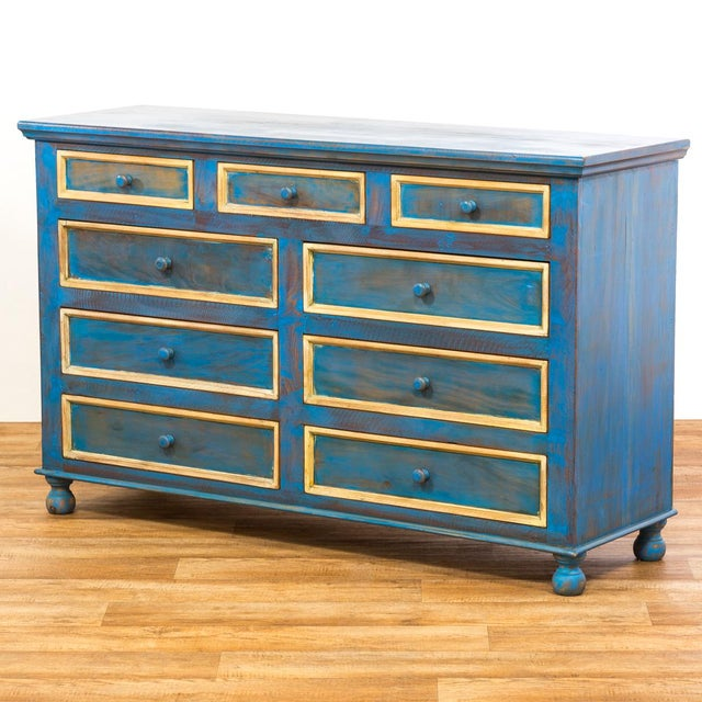 Reclaimed Peroba Rosa Wood Distressed Blue Chest of Drawers/Dresser - Image 4 of 8
