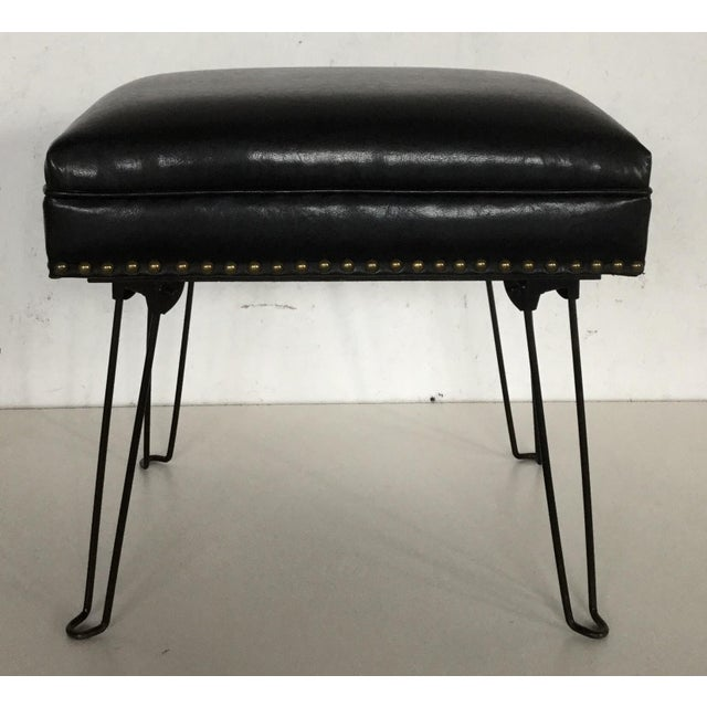 Modern Black Leather Occasional Stool Folding Legs For Sale - Image 11 of 11