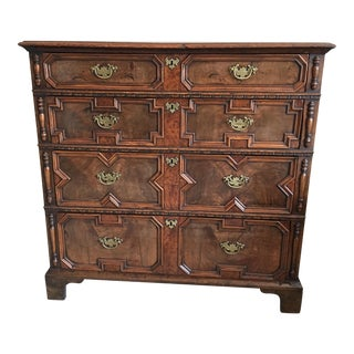 Antique William & Mary Style Veneered Walnut Chest of Drawers