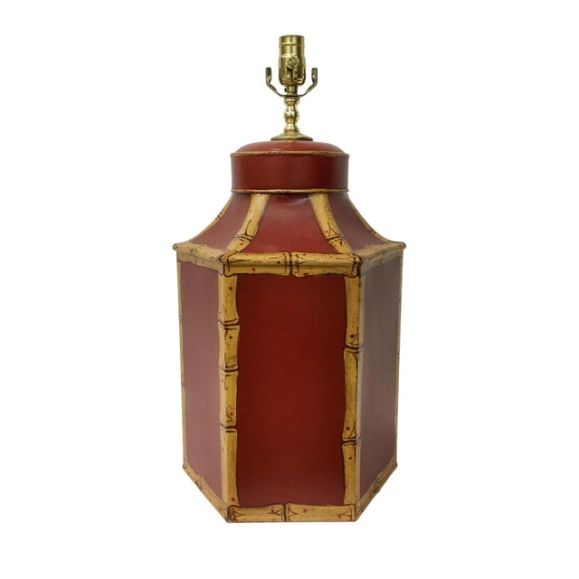 1980s 1980s Vintage English Export Tole Tea Caddy Lamp For Sale - Image 5 of 5