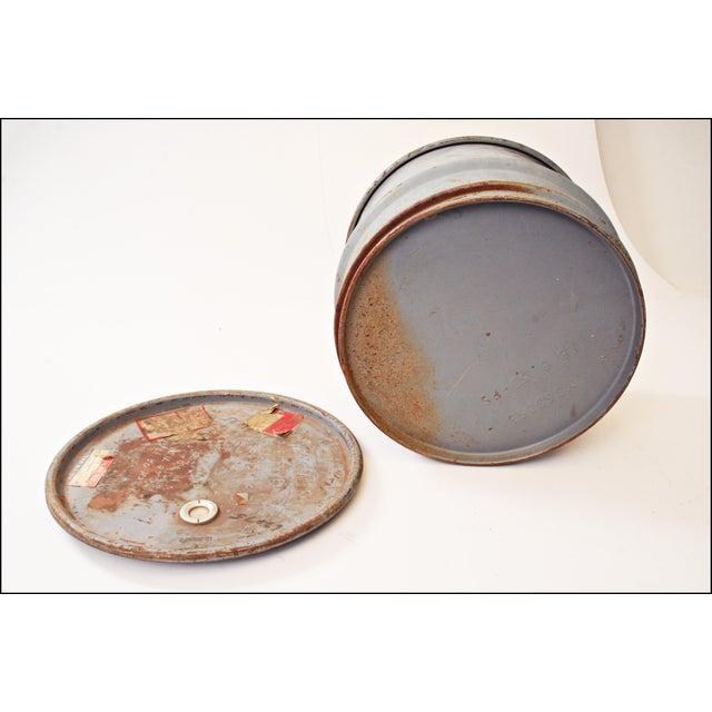 Vintage Industrial Gray Metal Barrel with Lid - Image 11 of 11